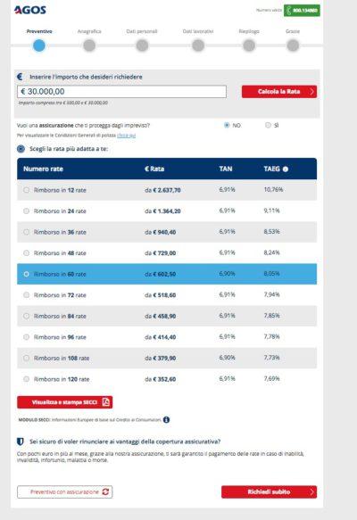 schermata calcolo rata prestito 30 mila euro sito ufficiale agos
