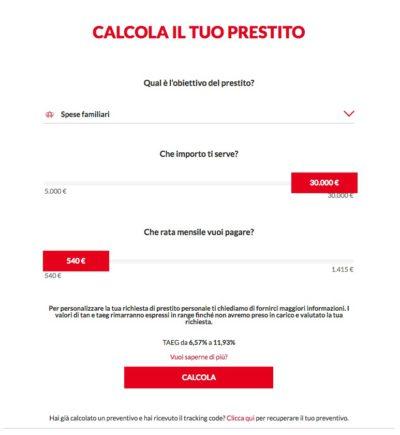 calcolo rata online prestito 30 mila euro compass