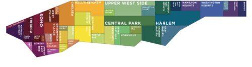 rappresentazione delle diverse zone di new york