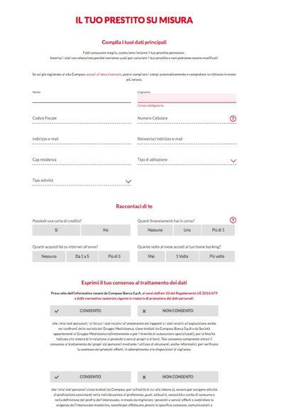 form inserimento dati per richiedere preventivo prestito compass