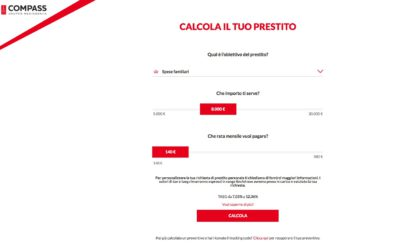 schermata sito compass per richiedere un prestito online da 30 mila euro
