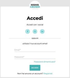 accesso piattaforma mamacrowd