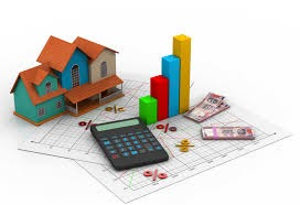 disegno di casa con grafici e calcolatrice