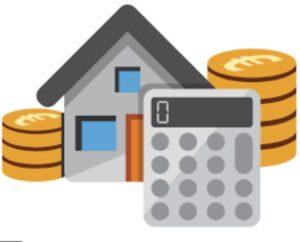 disegno di casa con intorno pile di monete